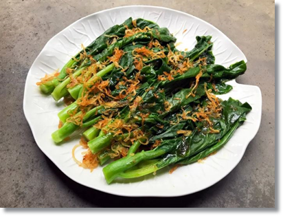 choy sum with fried shallots