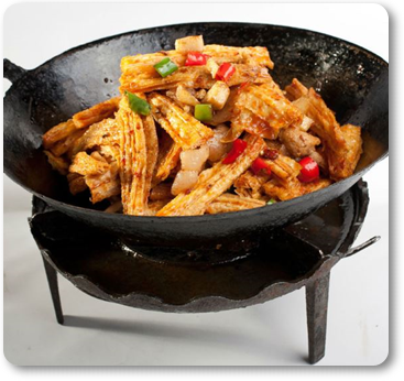 wok dishes with yuba