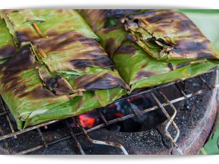 grilling in banana leaves