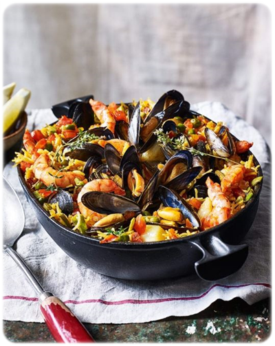 paella with prawns