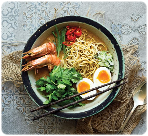 ramen with black tiger prawns