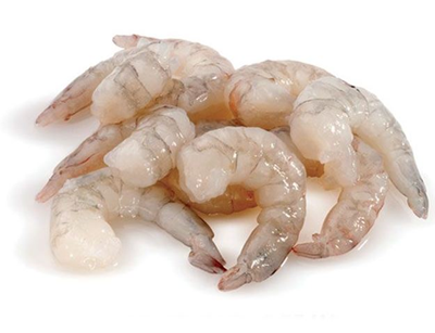 Peeled and deveined tail on shrimps