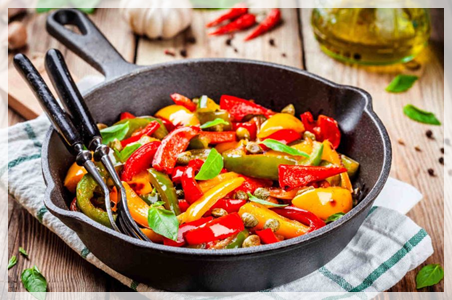 three colours peppers dish