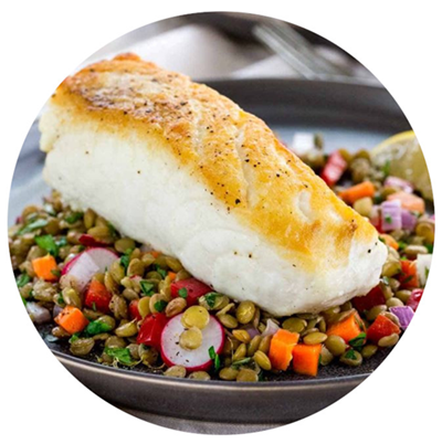 baked halibut with lentils salad