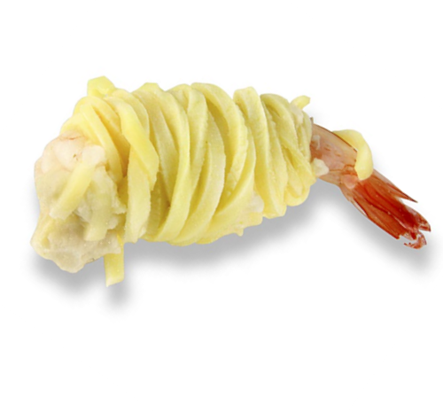 Potato wrapped shrimps